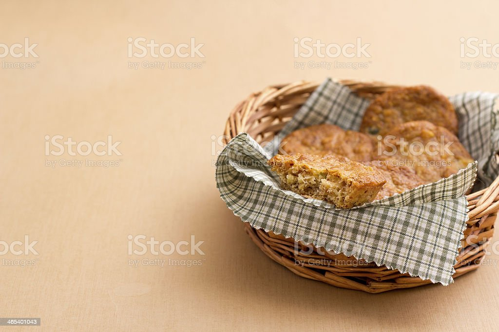 Florentines Cookies with candied fruit and almonds stock photo