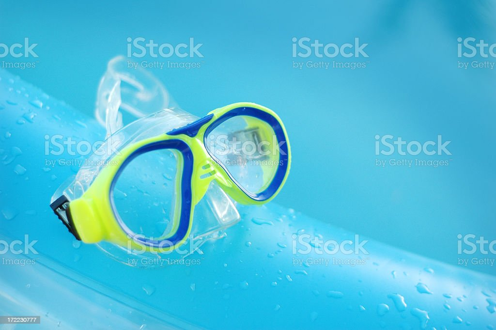 florescent green Diver's mask stock photo