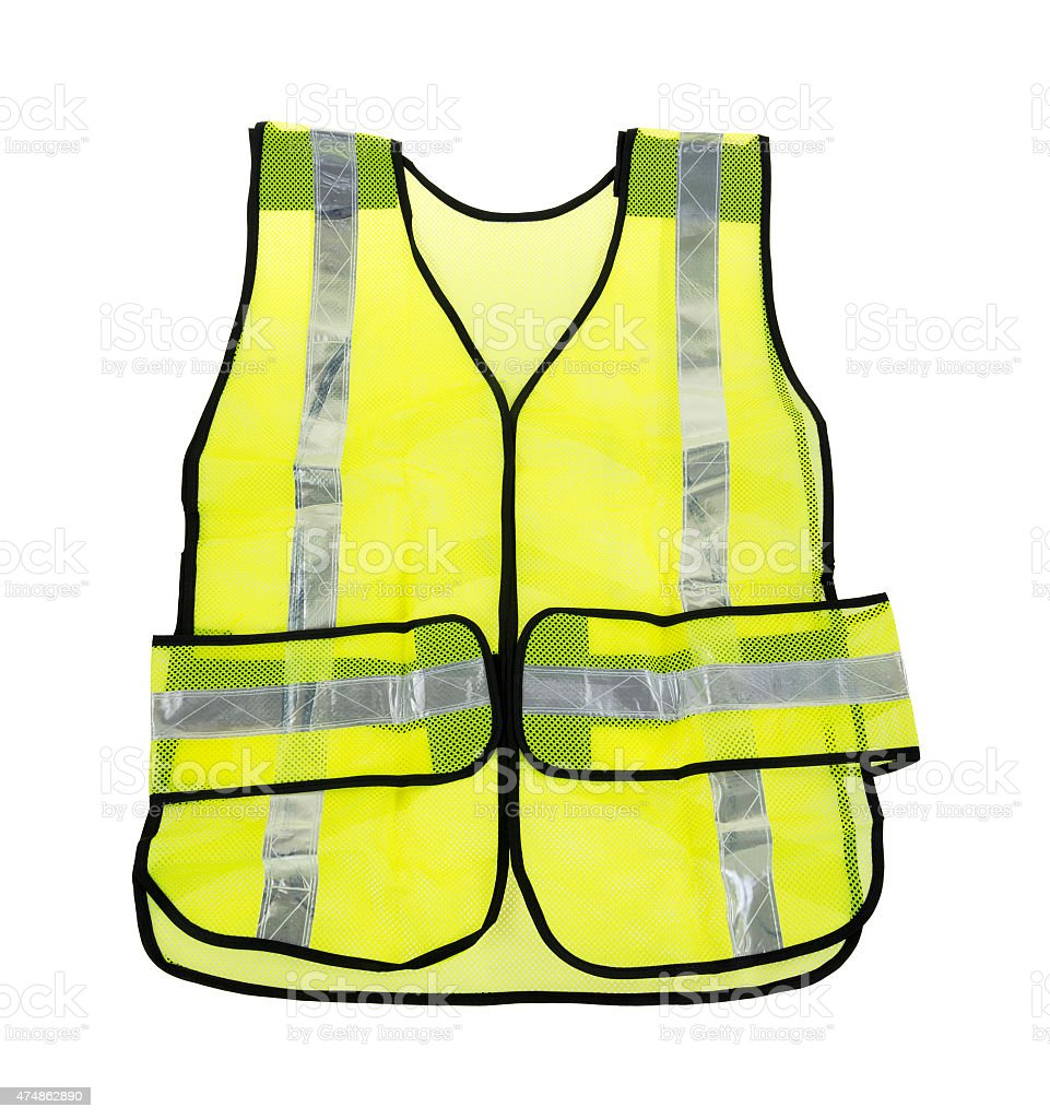 Florescent yellow safety vest stock photo
