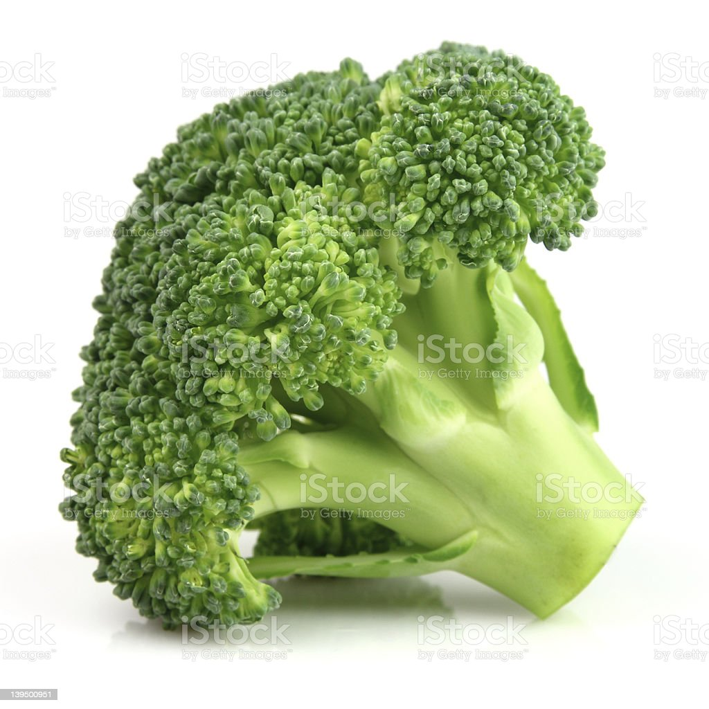 A floret of broccoli isolated on white background stock photo