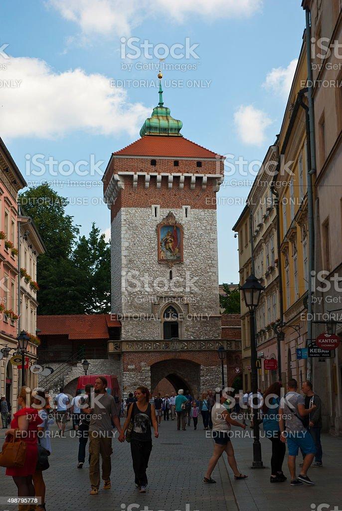 Florian Gate in Krakow, Poland stock photo