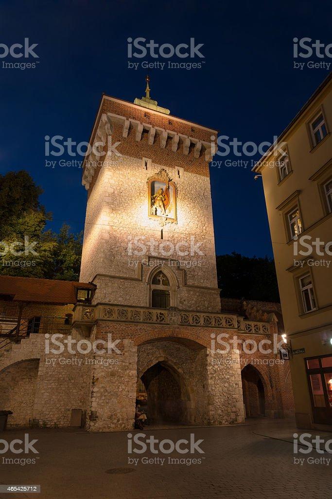 Florianka gate in Krakow stock photo