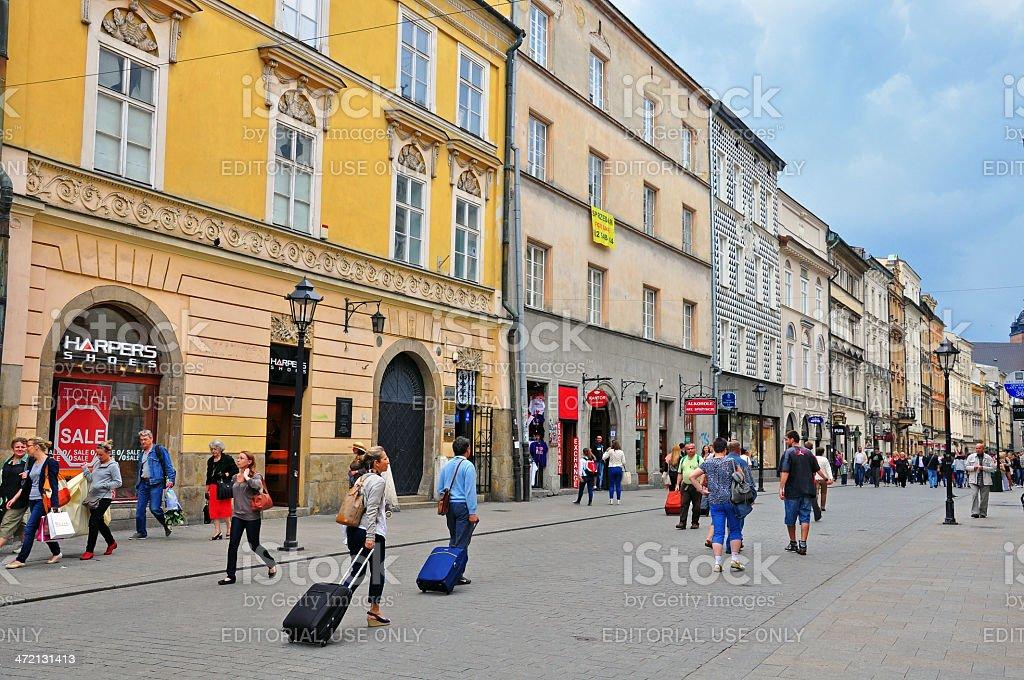 Florianska, Main shopping street of Krakow stock photo