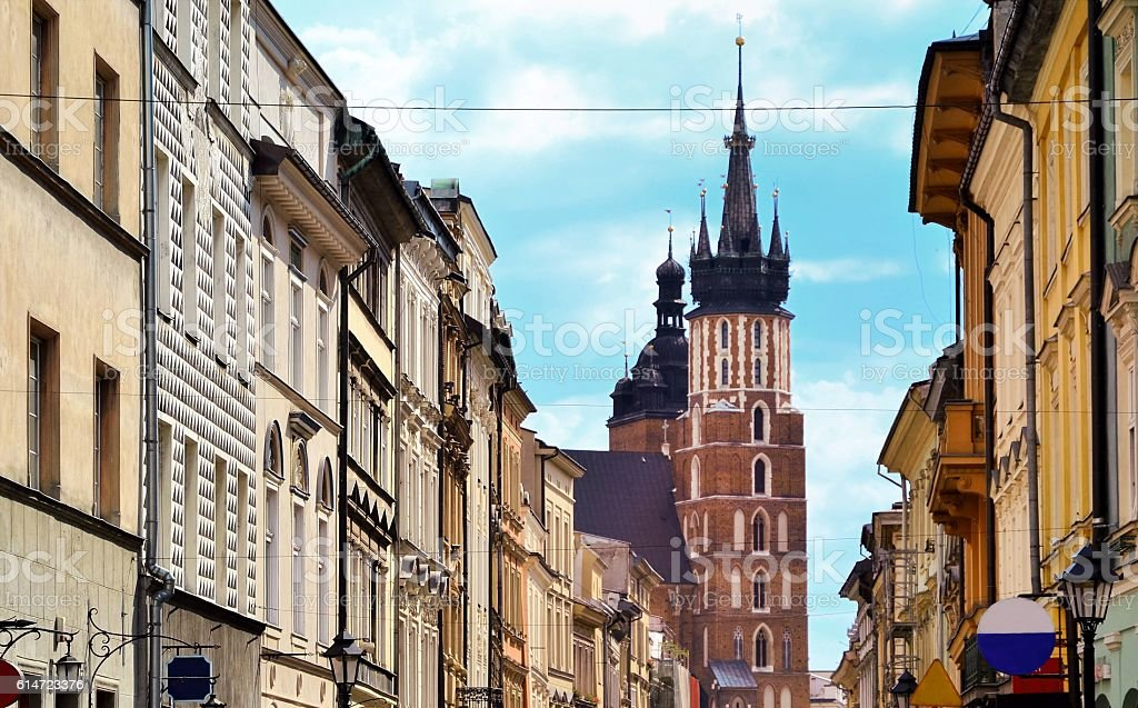 Florianska street in Krakow Poland stock photo