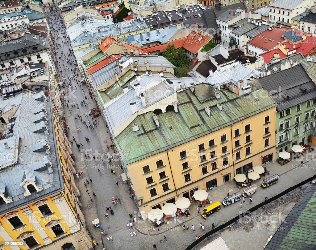 Florianska street in Krakow, Poland stock photo