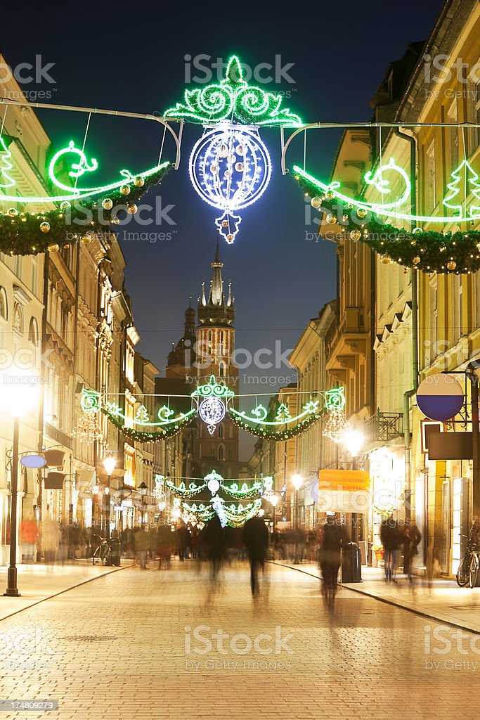 Florianska Street with Christmas Decorations at Dusk, Cracow, Poland stock photo