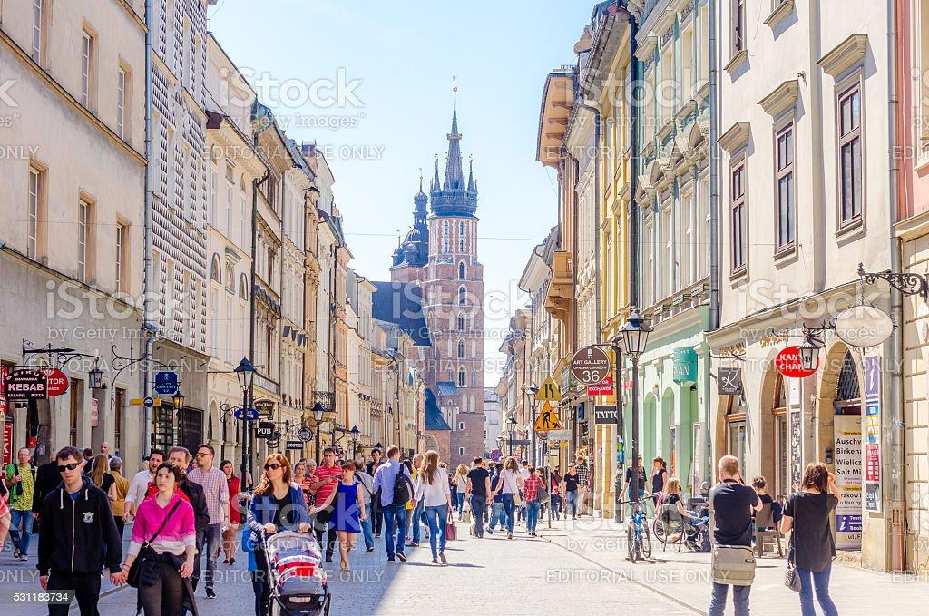 Florianska street with view of St. Mary's Basilica, Krakow stock photo
