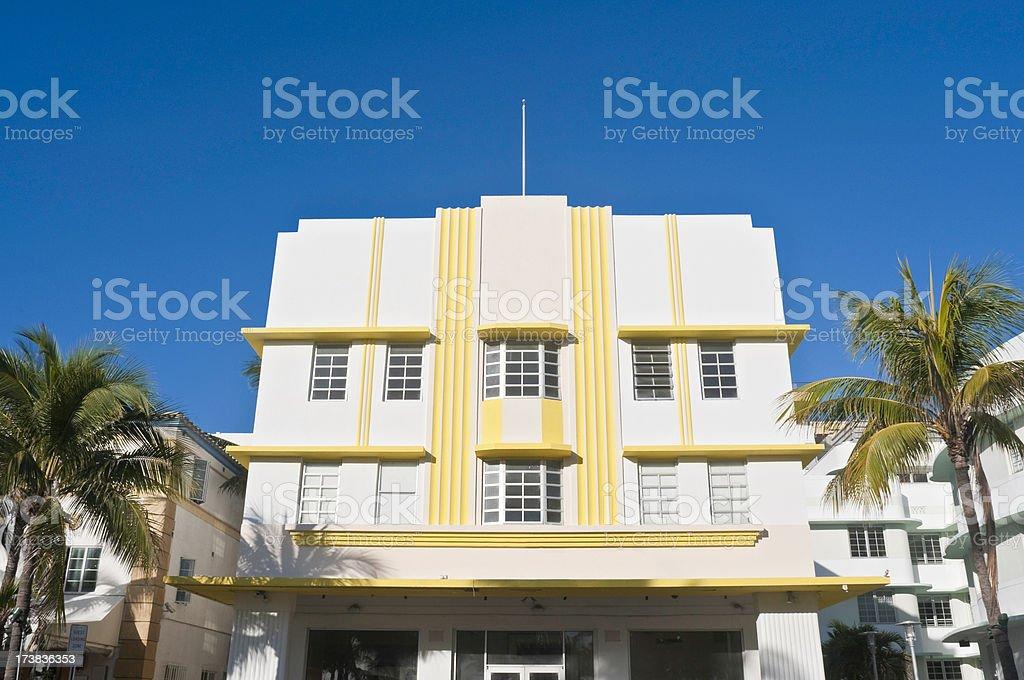 Florida Art Deco hotels blue sky palms royalty-free stock photo