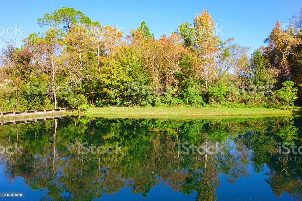 Florida Canal with Dam, Reclaimed Land stock photo