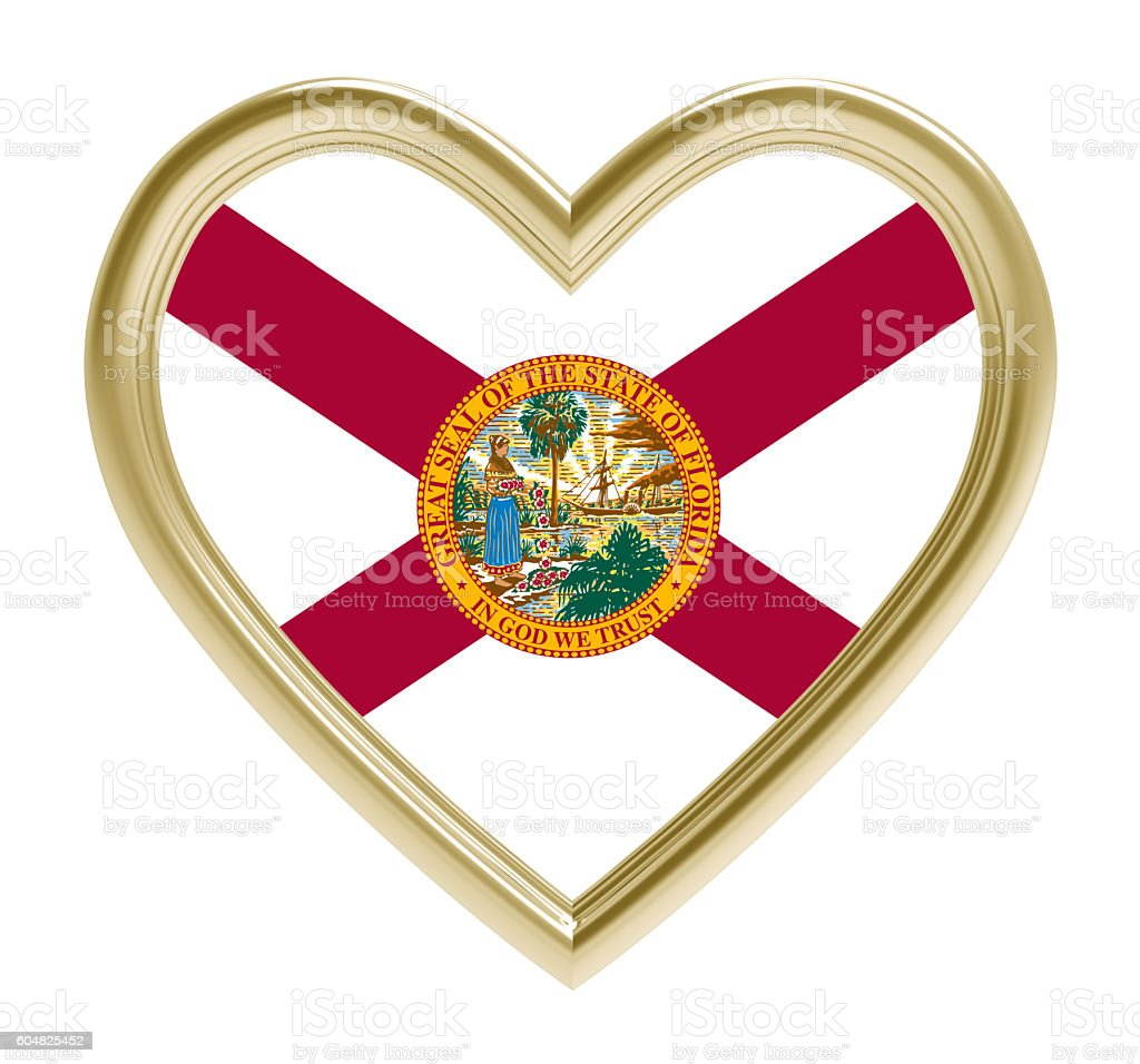 Florida flag in golden heart isolated on white background. stock photo