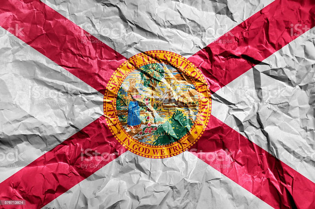 Florida flag painted on crumpled paper background stock photo