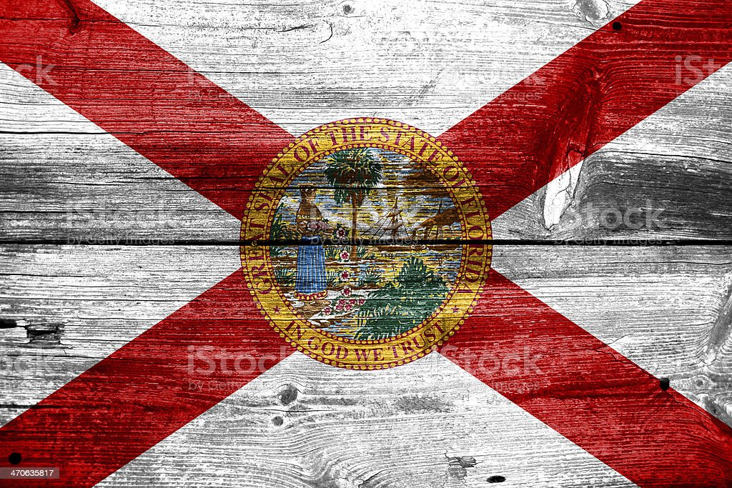 Florida Flag painted on old wood plank texture royalty-free stock photo