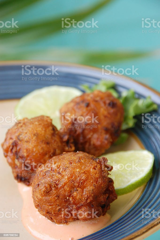Florida Keys Conch Fritters stock photo
