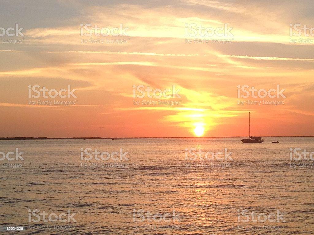 Florida Keys Sunset with Sailboat stock photo