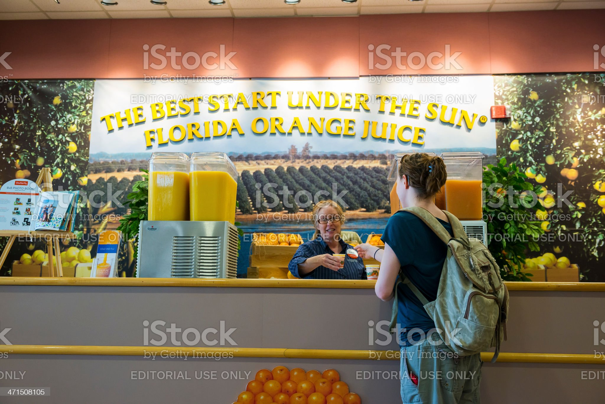 Florida orange juice at welcome center royalty-free stock photo