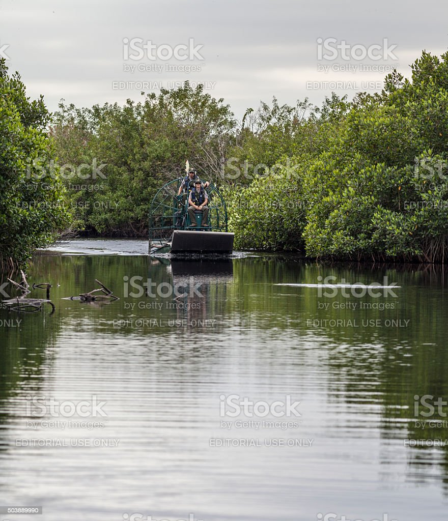Florida Park Rangers on an Airboat Patroling Turner River stock photo