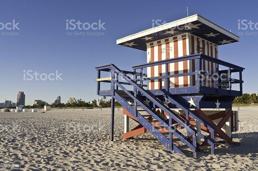 Florida patriotic Stars and Stripes lifeguard hut Miami Beach USA royalty-free stock photo