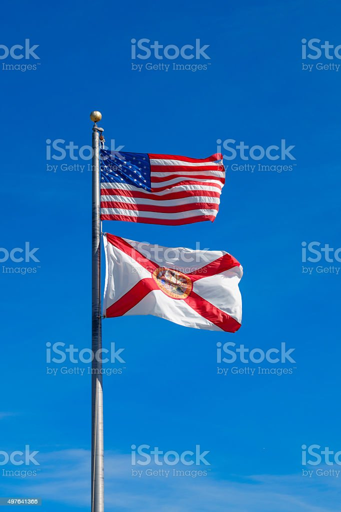 Florida State and United States of America Flags USA stock photo