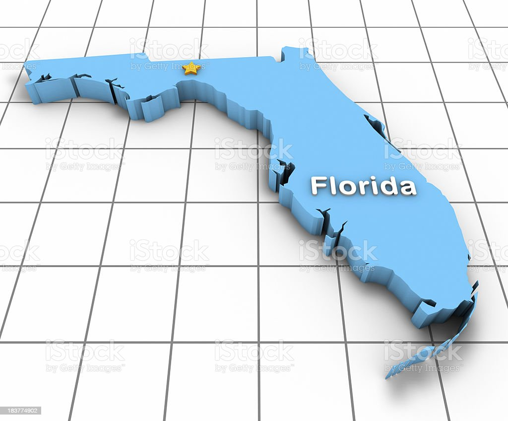 Florida State Map 3D royalty-free stock photo