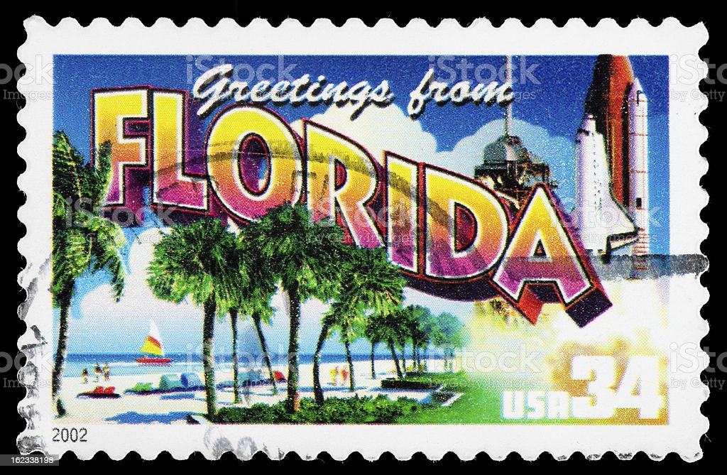 Florida State Postage Stamp Greetings From America Retro Postcard Theme stock photo