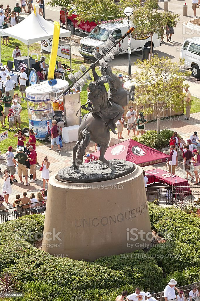 Florida State University's Unconquered Sculpture of Chief Osceol stock photo