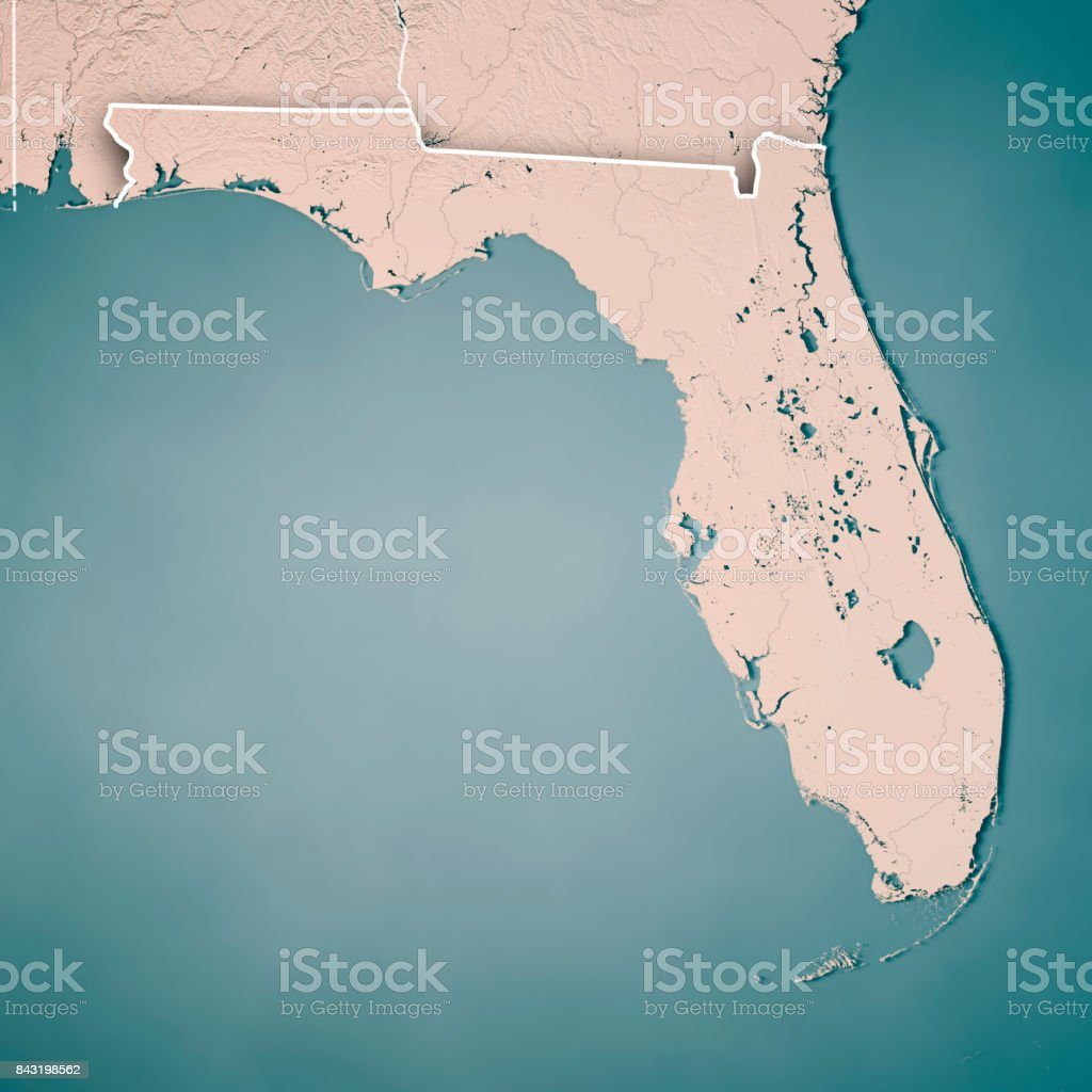Florida State USA 3D Render Topographic Map Neutral Border stock photo