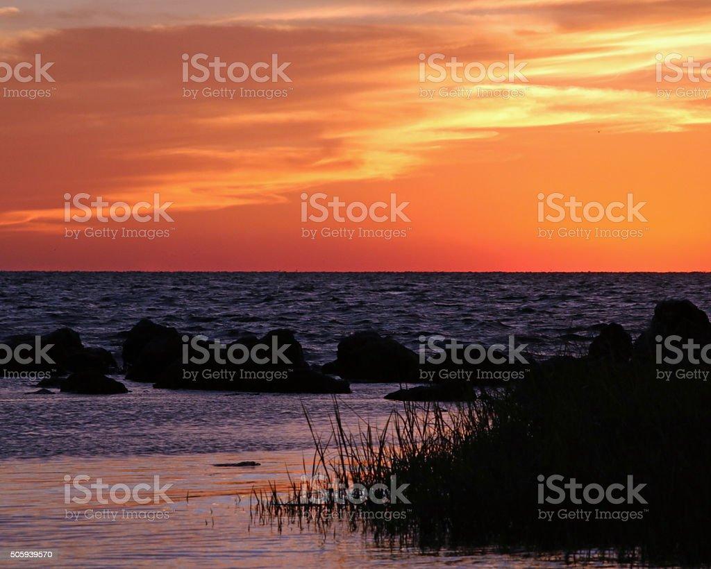 Coucher de soleil sur la plage en Floride photo libre de droits