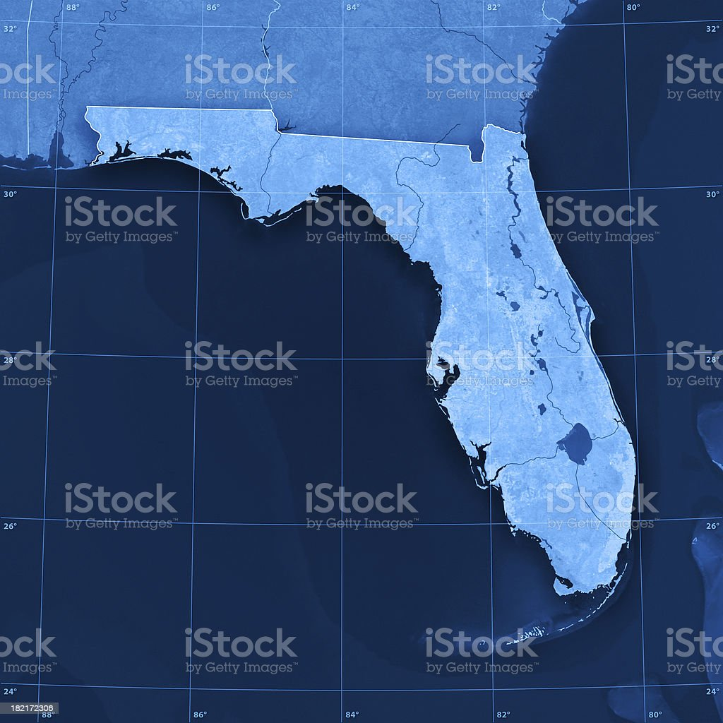 Florida Topographic Map royalty-free stock photo