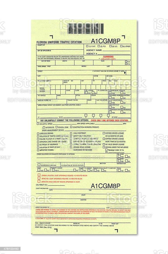Florida traffic ticket stock photo