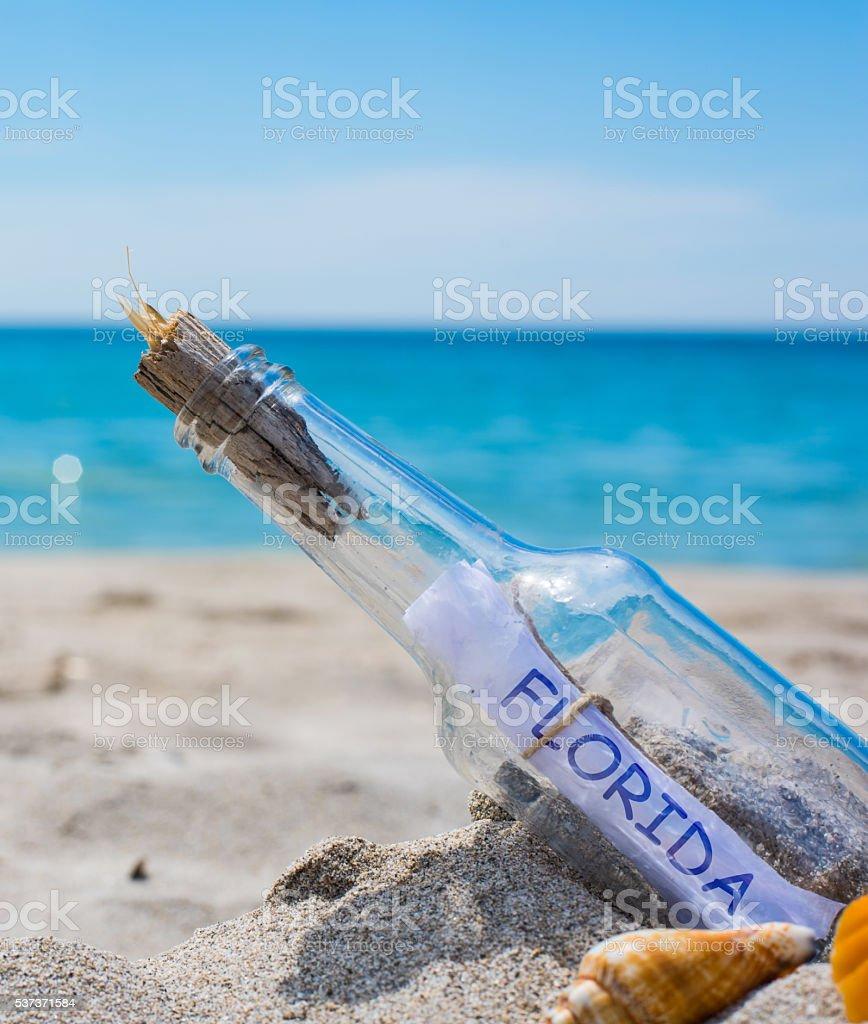 florida written in a bottle stock photo