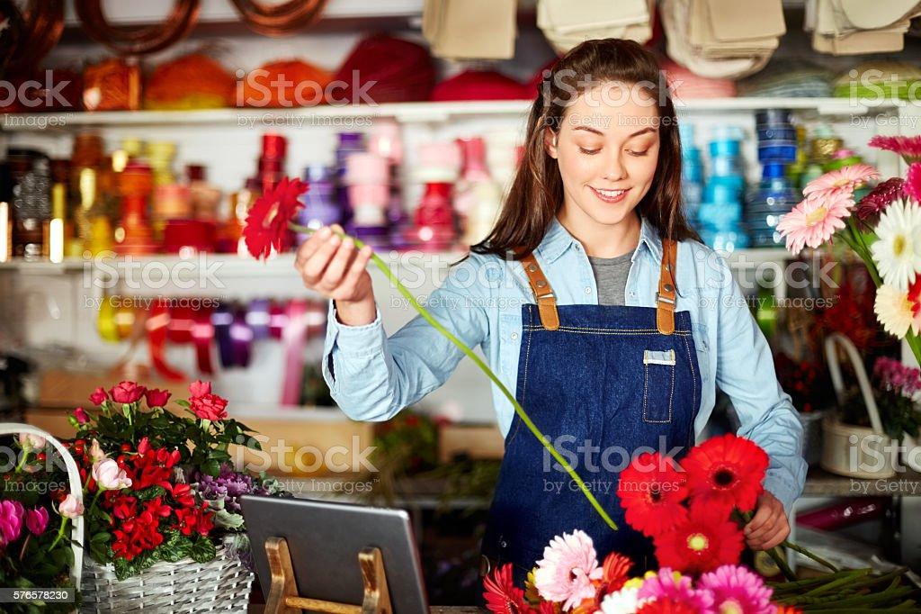 Florist arranging fresh Gerbera daisies at checkout counter stock photo