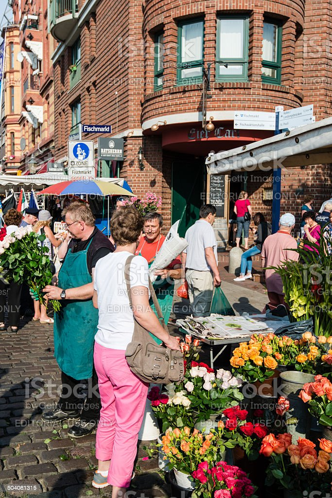 Florist at old Fish Market by the harbor in Hamburg, royalty-free stock photo