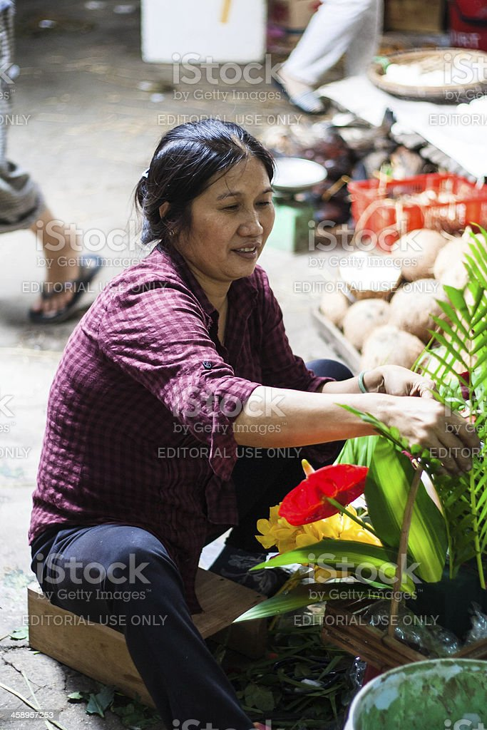 Florist at the Street Market, Vietnam royalty-free stock photo
