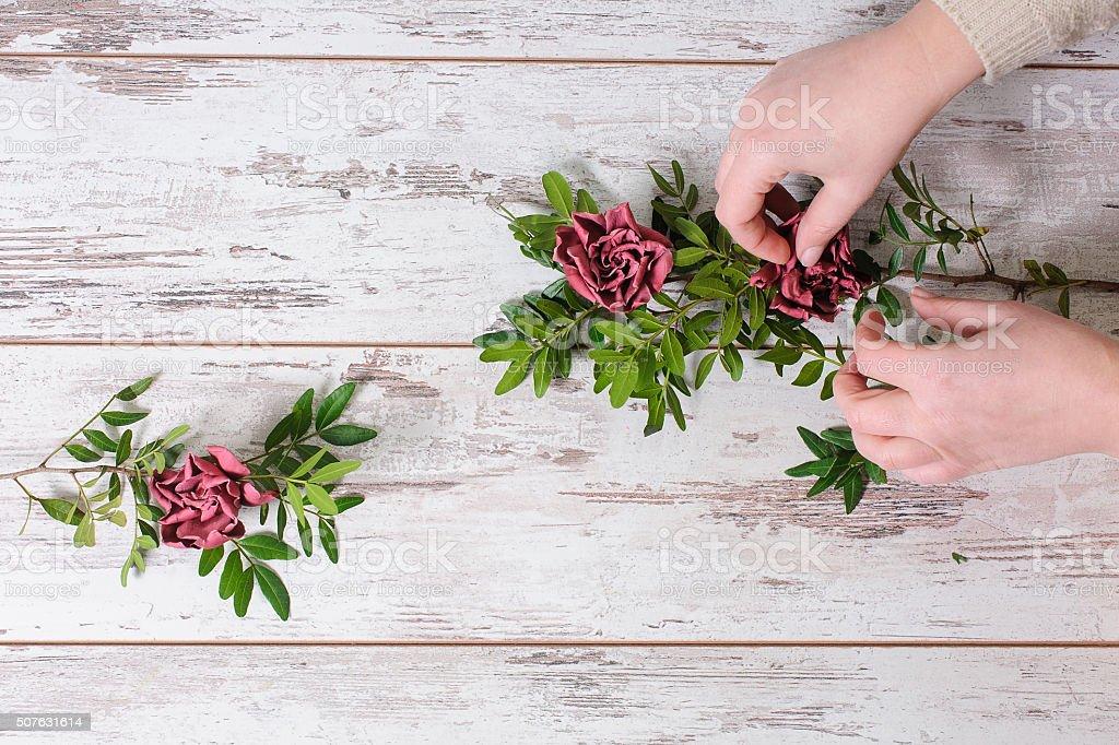 Florist collects bouquet stock photo
