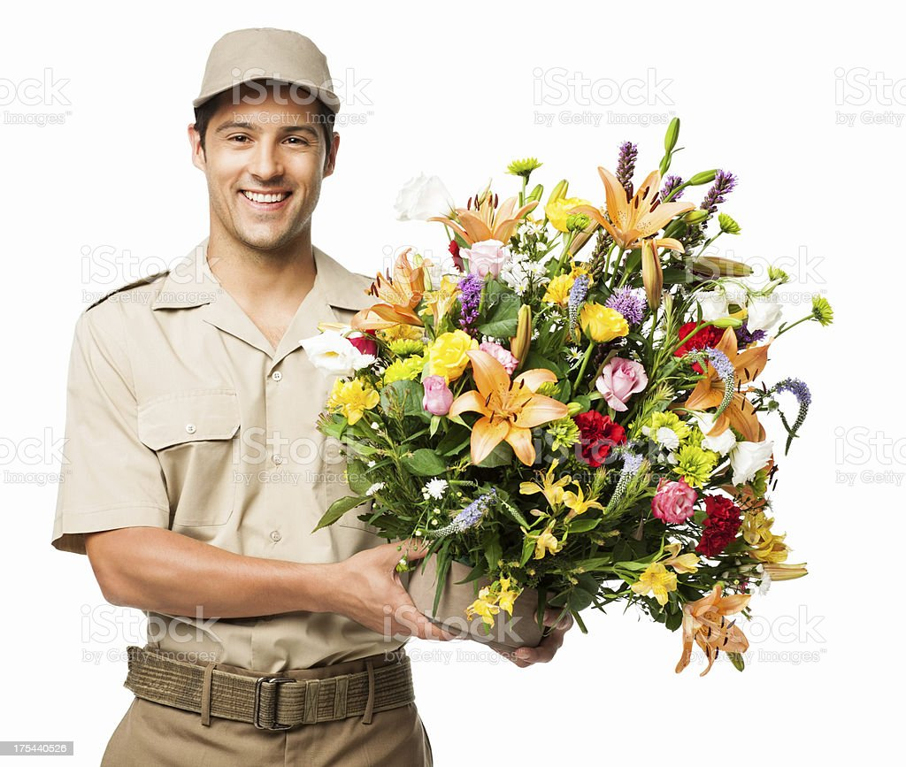 Florist Holding Bouquet Of Flowers - Isolated royalty-free stock photo