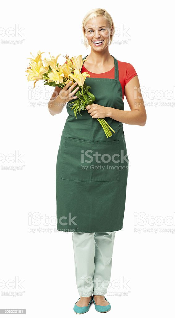 Florist Holding Bouquet Of Yellow Lilies stock photo
