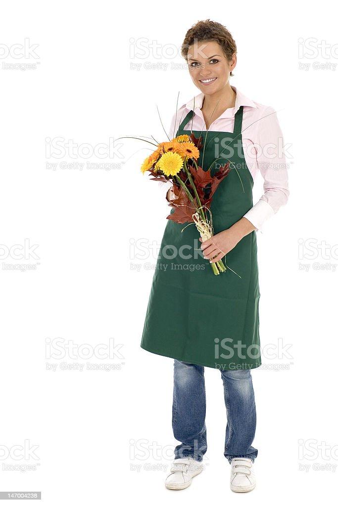 Florist holding flowers stock photo