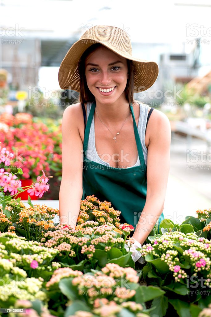 Florist in a Flower Shop stock photo