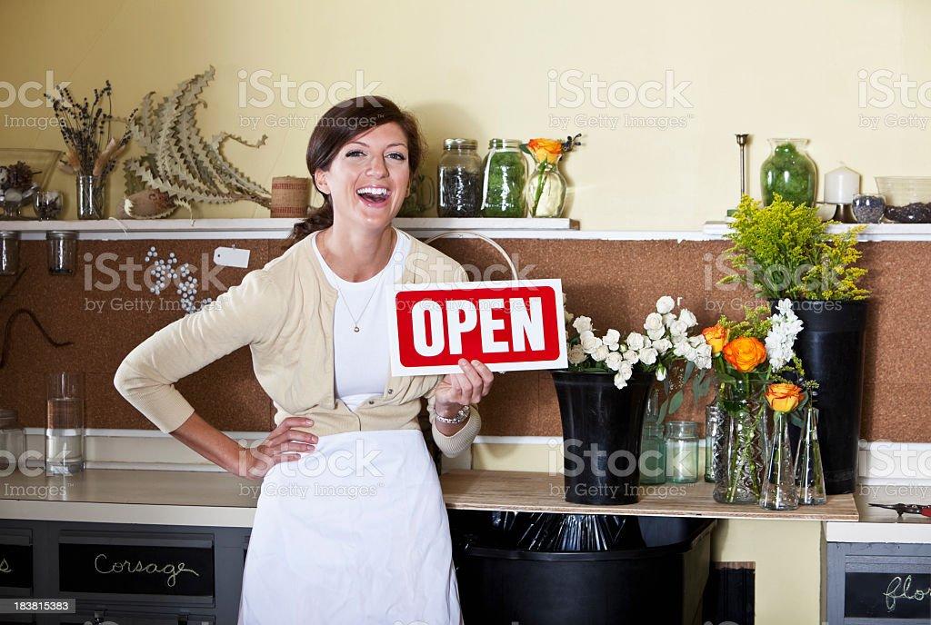 Florist shop open for business stock photo