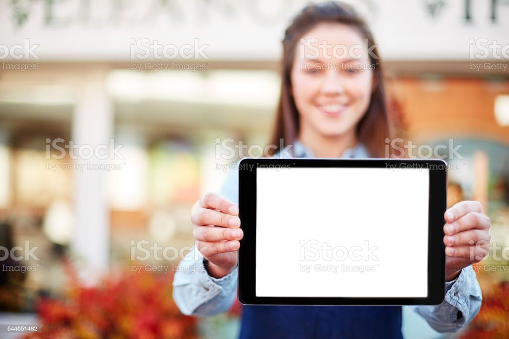 Florist showing digital tablet with blank screen stock photo