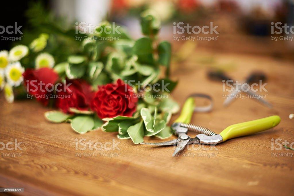 Florist table stock photo