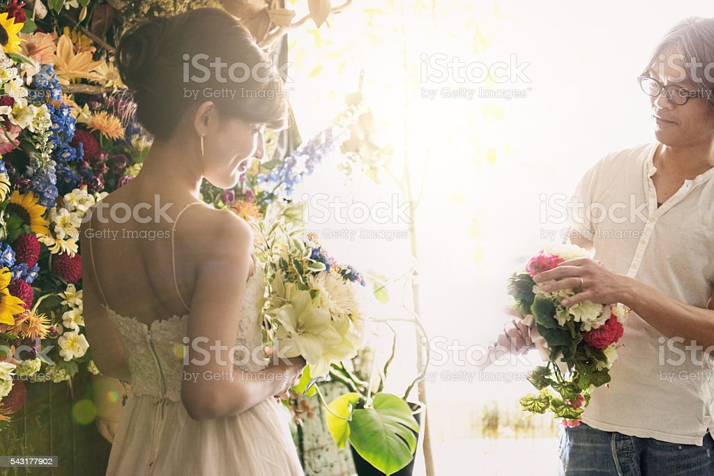 Florist with Japanese Bride stock photo