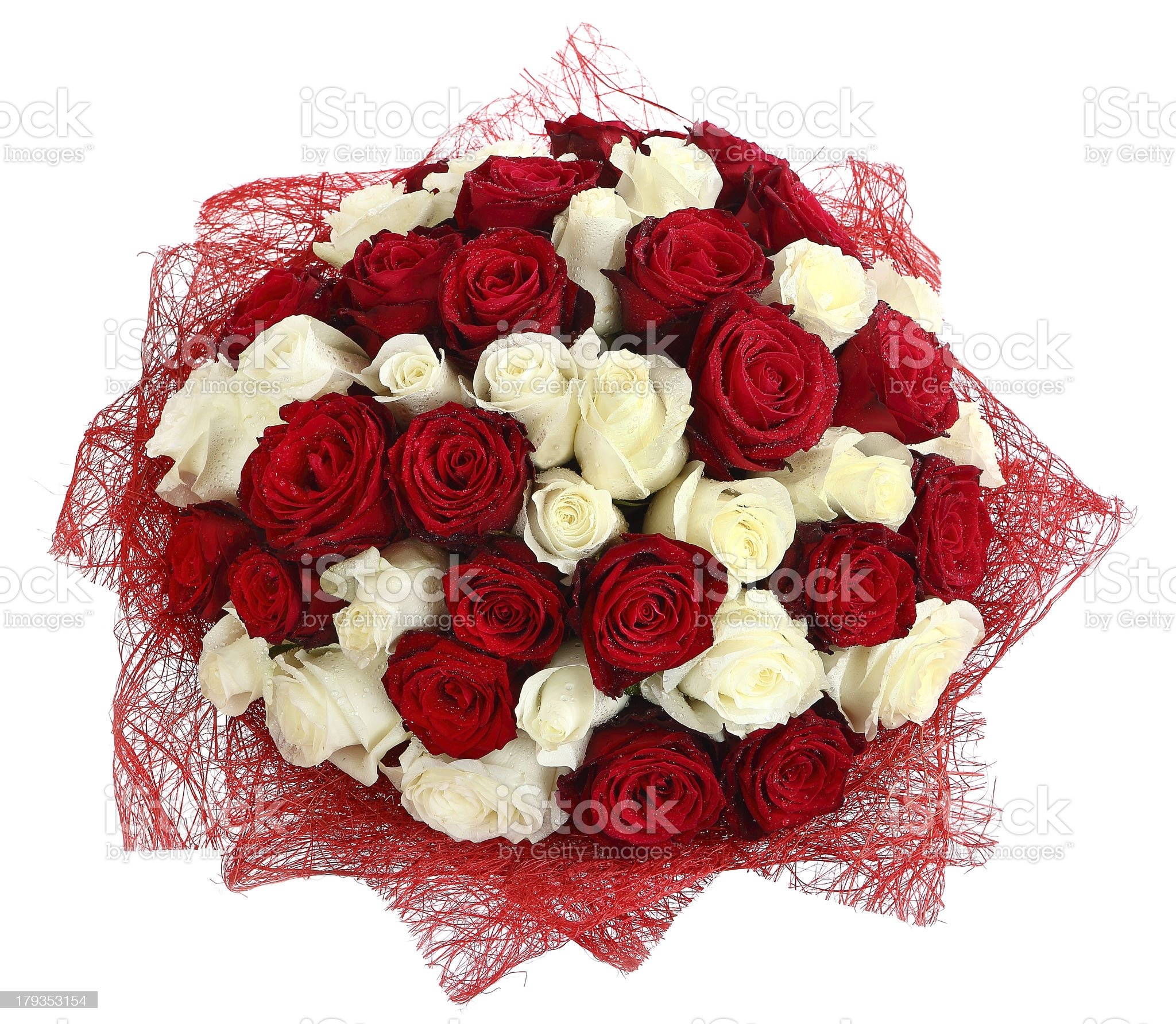 Floristic arrangement of white and red roses. Floral composition royalty-free stock photo
