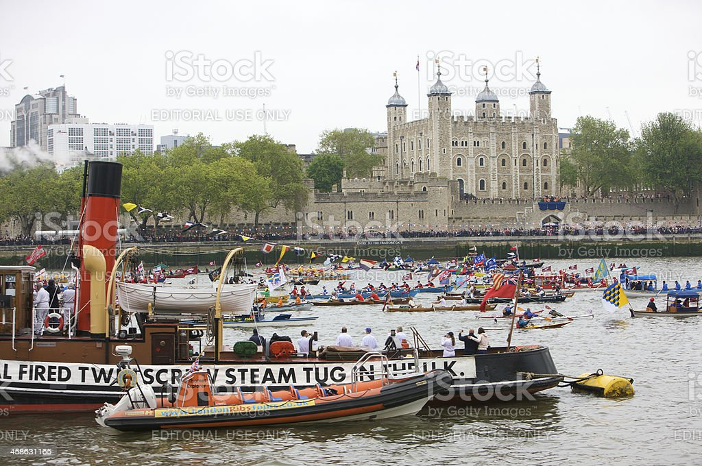 Flotilla of rowing boats at the Diamond Jubilee River Pageant royalty-free stock photo