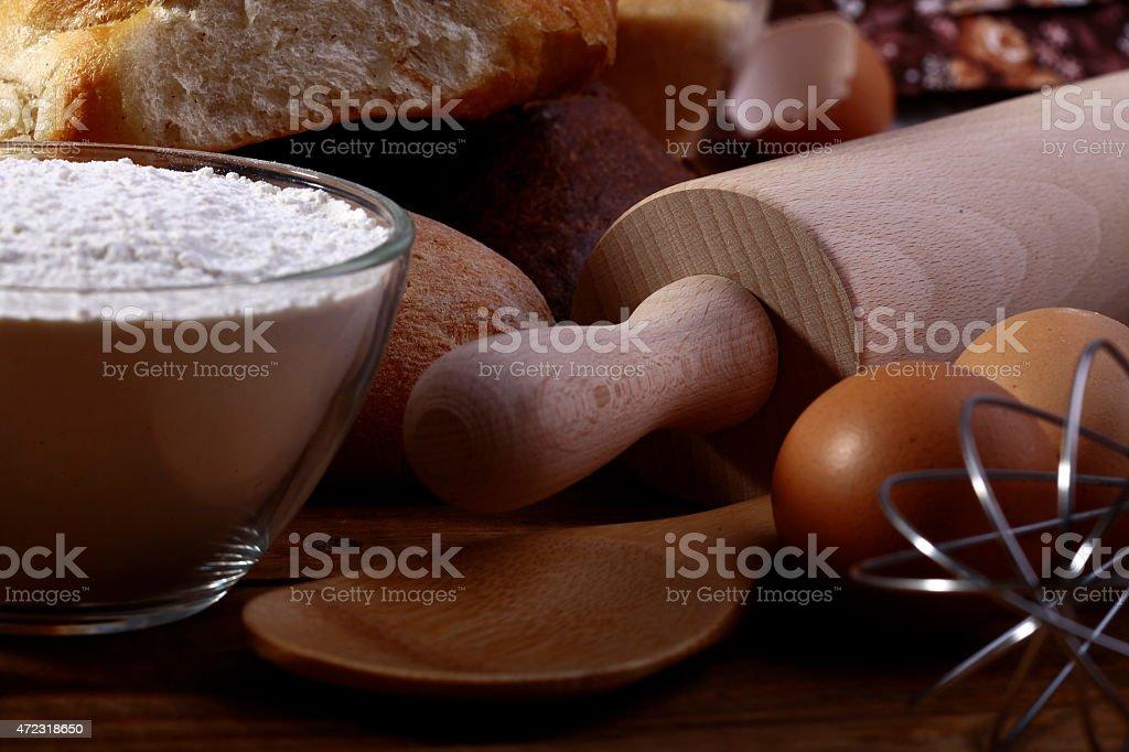 Flour and appliances for baking stock photo