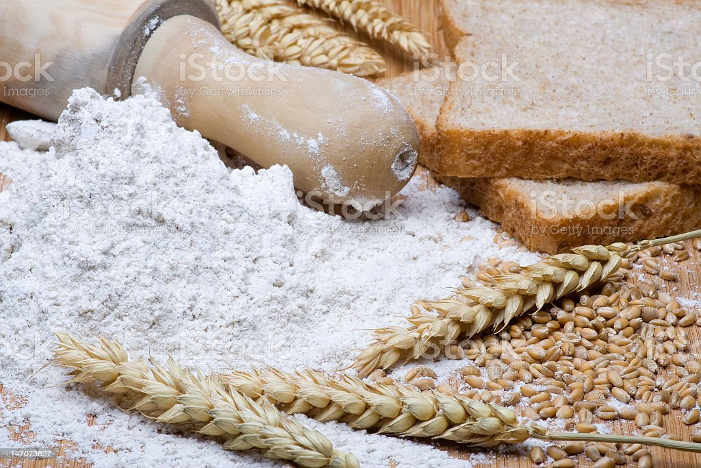 Flour and bread stock photo