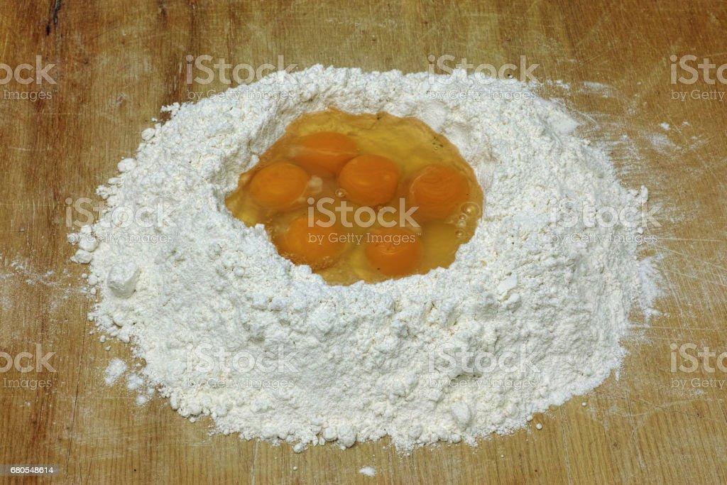 flour and eggs stock photo