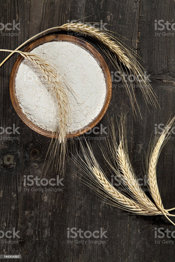 Flour and wheat ears royalty-free stock photo