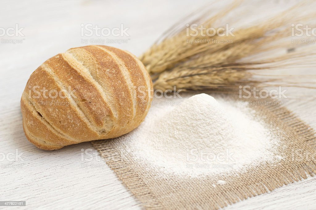 Flour, bread and wheat royalty-free stock photo