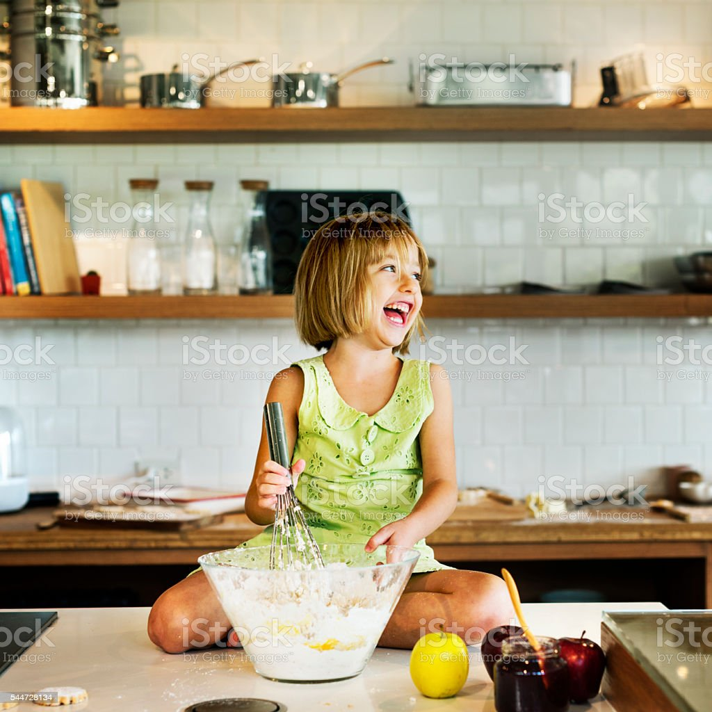 Flour Dessert Cookie Dough Cake Bakery Girl Concept stock photo